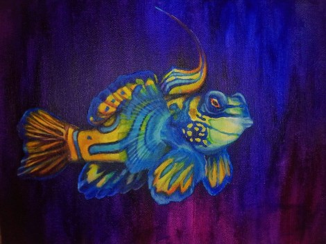 Work in Progress  acrylic painting on canvas of Synchiropus splendidus (Mandarinfish) Cell phone photo.