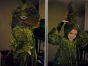 Tyrannosaurus rex inspired halloween costume back int he 90's. I couldn't see out of it until we made 'nostrils'. Hah!